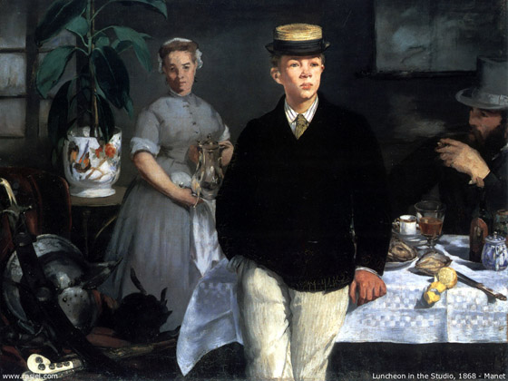Édouard Manet - 'Le Dejeuner dans l'Atelier', 1868 - oil on canvas - Neue Pinakothek, Munich